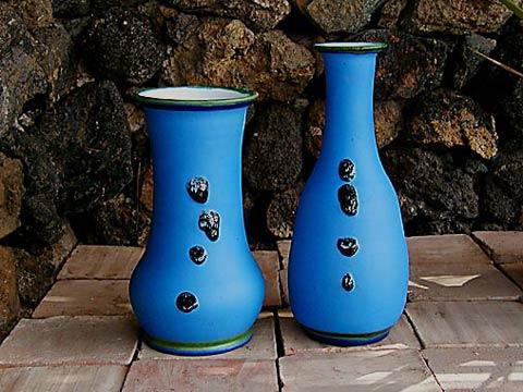 Vasi con Ossidiana - Alt: 38 -33cm.