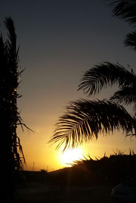 Il tramonto visto dalla terrazza.